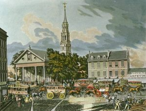 St. Paul's Chapel, New York, as it appeared in 1831 (This image was published in the US before 1923 and is public domain in the US)