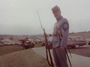 "A photo of Ted's from the 1962 reenactment at Antietam. ""Note the missles,"" he points out."