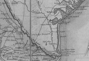 An inset of a map showing the Nueces Strip, about 150 miles of contested land between the Nueces and Rio Grande Rivers. (LOC, full map here: https://www.loc.gov/resource/g4410.ct000127/)