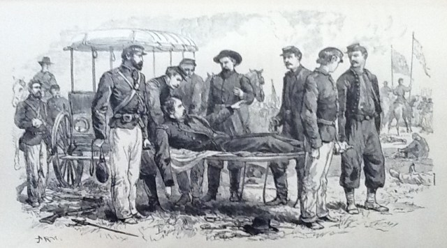 """General Hancock wounded at Gettysburg (Illustration from """"Life of Hancock"""" published in the 1880's)"""