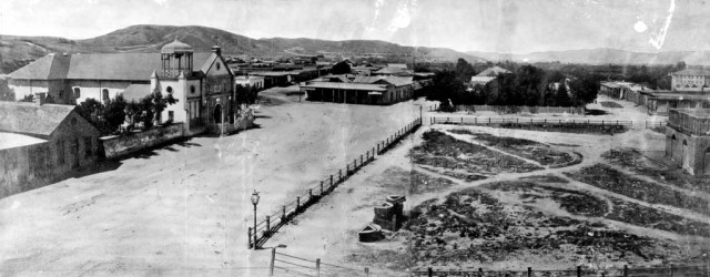 Los Angeles Plaza in 1869. (10 years after the Hancock Family arrived.)
