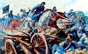 Cpt. Charles May leads an attack at Resaca de la Palma (U.S. Army)