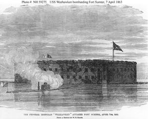 The USS Weehawken bombarding Fort Sumter.