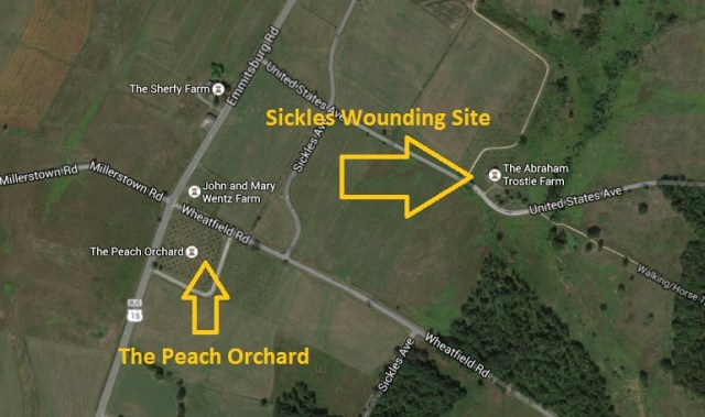 Sickles Wounding Site Map