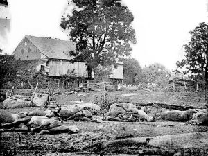 Trostle Farm in the days after Gettysburg. The horses in the yard are mainly from the stand of the 9th Massachusetts Battery.