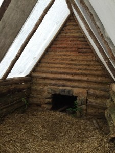 Interior of a replica soldier hut on the ground of the White Oak Museum & Stafford Research Center.