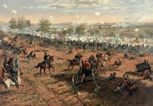"This digitally-enhanced version of the painting ""Hancock at Gettysburg"" by Thure de Thulstrup depicts the Union repulse of Pickett's Charge. This assault resulted in a costly defeat for Lee's army and precipitated their retreat. Courtesy of Adam Cuerden"