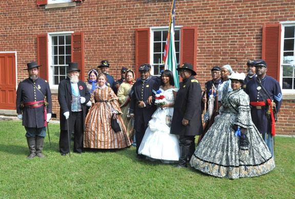 Group Wedding Photo at Historic Old Salem Church