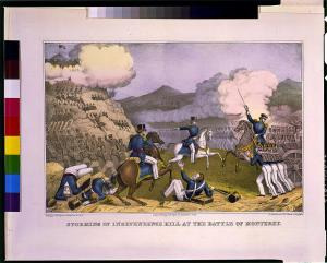 A Currier & Ives depiction of the American attack against Independence Hill and the Bishop's Palace (LOC)