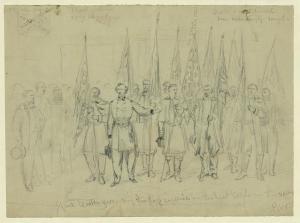Custer presenting captured enemy battle flags to Secretary of War Edwin Stanton.