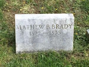 Mathew Brady's original tombstone, bearing the incorrect death year of 1895.