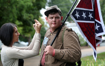 Woman Flipping Off Reenactor