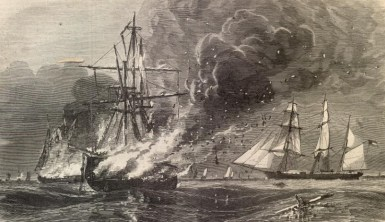 CSS Tacony burns Union shipping