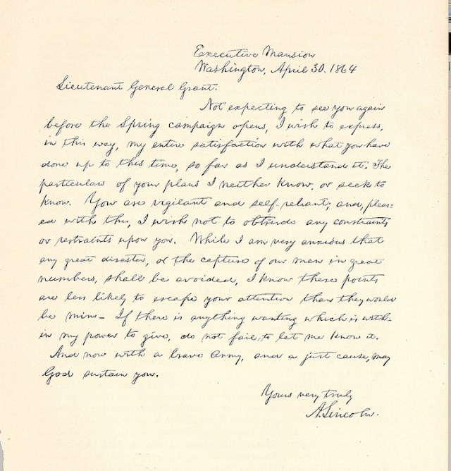 Lincoln letter to Grant