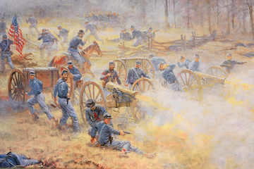 Union-artillery-in-action-at-Leetown-Battlefield