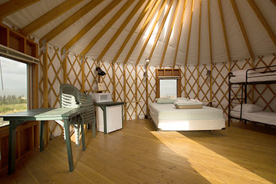 Interior of the Red Fox yurt at Snow Mountain Ranch