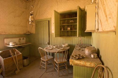 Kitchen and dining in a home abandoned more than 60 years ago