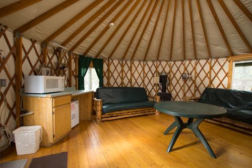 Inside the Beaver Lodge Yurt