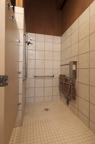 Accessible shower in the Loop A bathhouse at Ridgway State Park