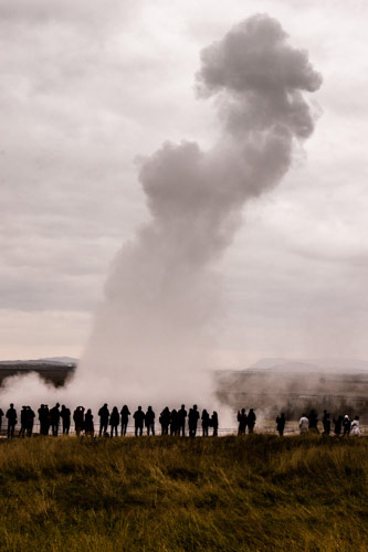 The Strokkur geyser erupts every four-to-eight minutes