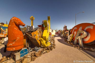 Pathways through the signs at the Neon Museum