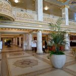 Mosaic tiled floors and gold leaf adorn the lobby of French Lick Springs Hotel