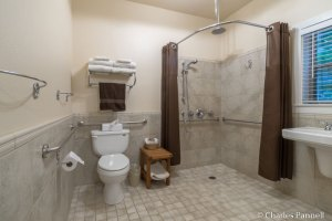 Toilet and shower in the Blacktail Deer Room at The Inn at Shasta Lake