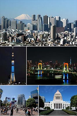 Clockwise from top: Nishi-Shinjuku, Rainbow Bridge, National Diet Building, Shibuya, Tokyo SkytreeBy Hogweard [CC BY-SA 3.0], via Wikimedia Commons