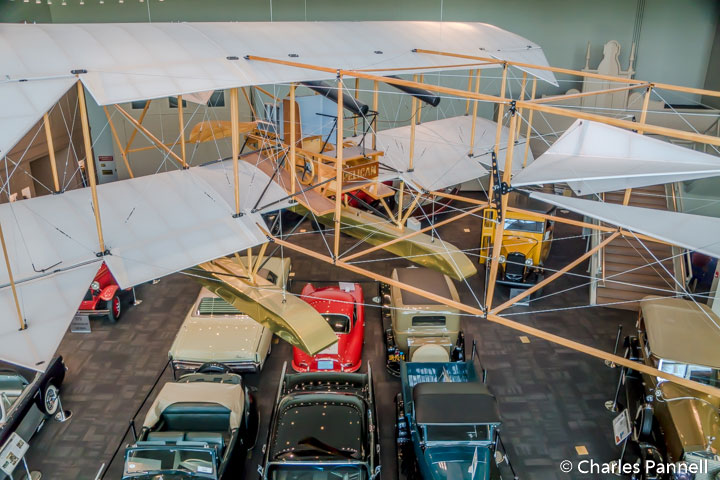 1911 Pelican-Hydro Airplane above the auto collection at the Elliot Museum