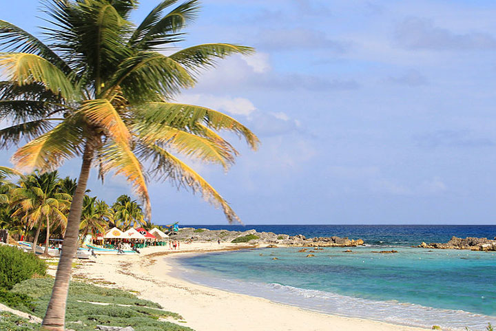 Small bars and restaurants on the beach in Cozumel