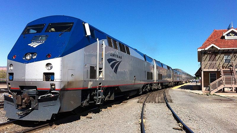 Amtrak engine pulling the eastbound California Zephyr at Grand Junction, Colorado