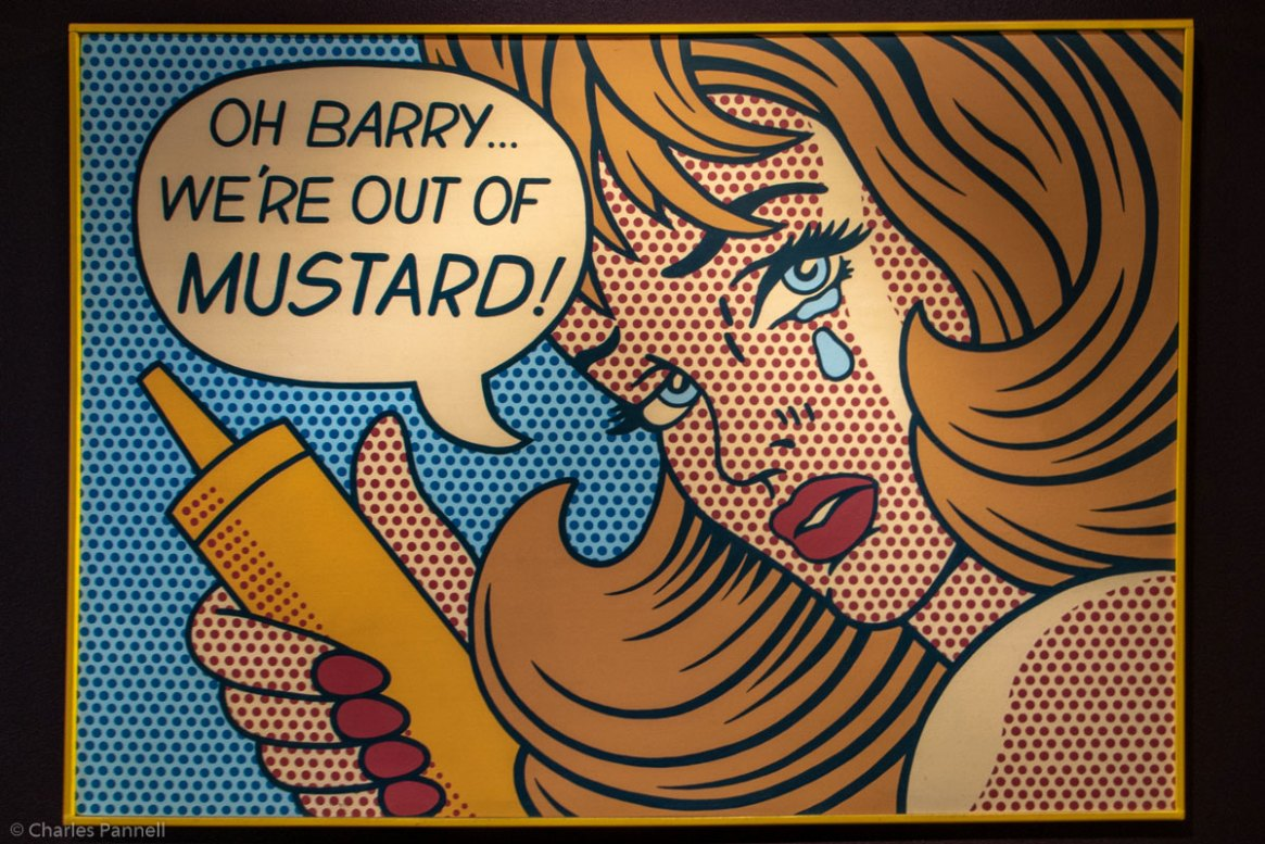 "Pop art of a woman with a tear in her eye exclaiming ""Oh Barry, we're out of mustard"" in the International Mustard Museum - a unique US museum"