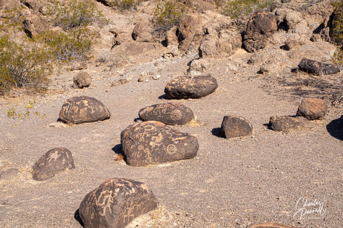 wheelchair-accessible petroglyphs; photo showing shopping cart sized petroglyph boulders on the ground near the trail