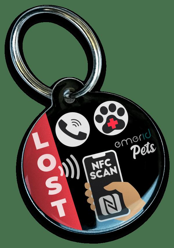 Dispositivo EMERID PETS placa identificadora nfc para mascotas perros gatos