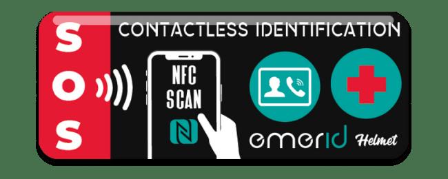Identificador NFC para cascos Emerid Helmet foto dispositivo rojo