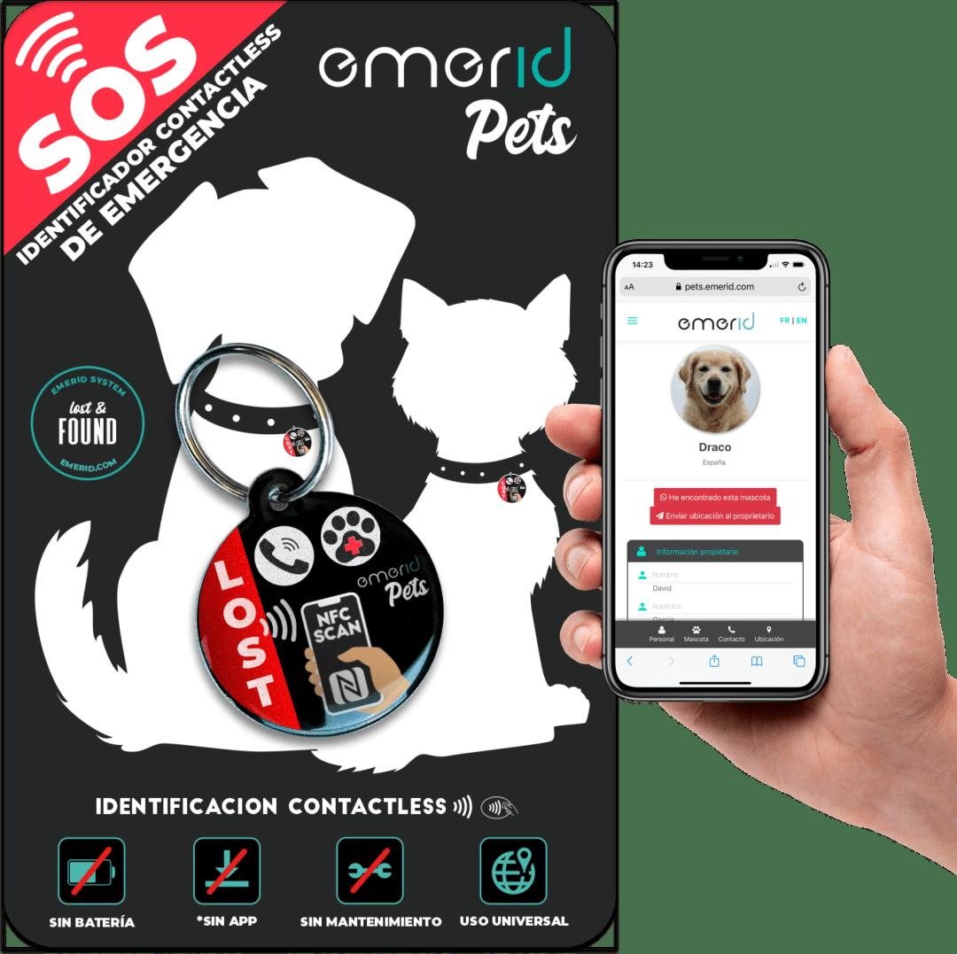 packaging Emerid Pets Placa identificadora NFC para tu mascota