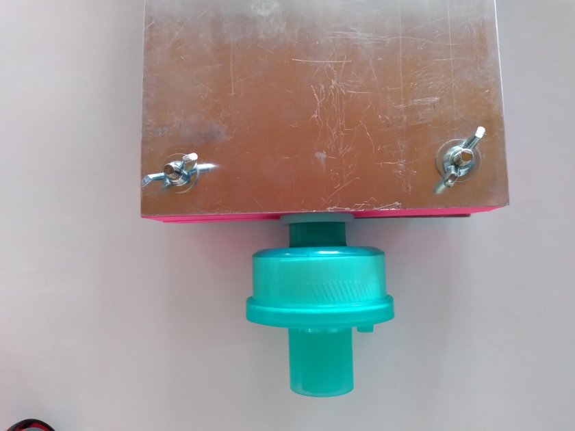 Pulmó de prova connectat a filtre HME standard