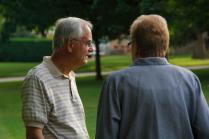 John Vlahovich talks to Corbin Center rep Laura Schlangen