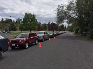 The line of cars waiting for entry.