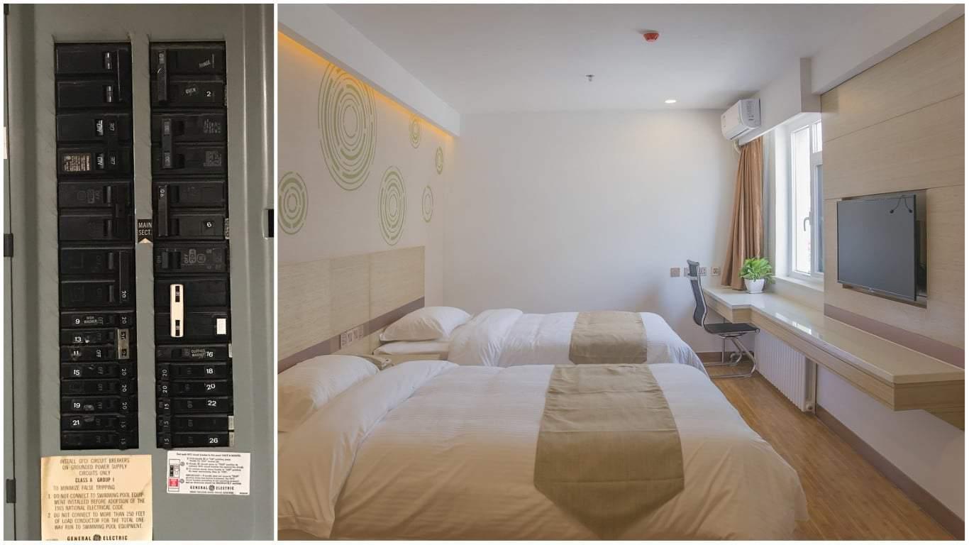 hight resolution of sleeping near electrical panel