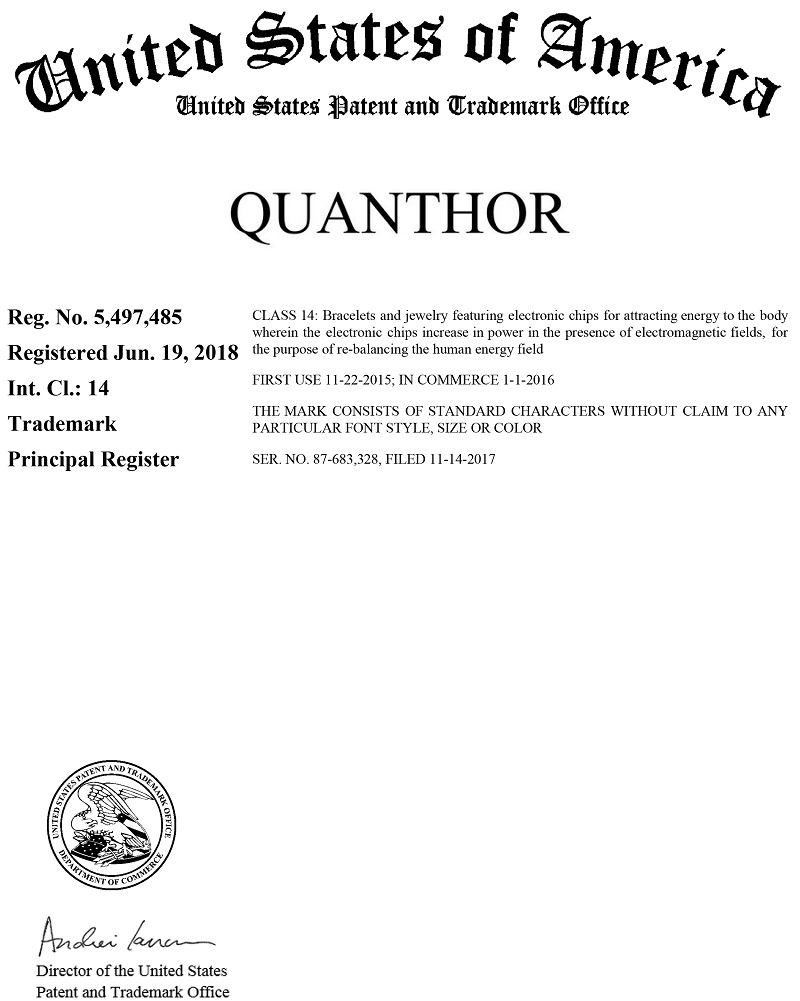QUANTHOR-registration-Certificate-SUA-trademark-patent-ress