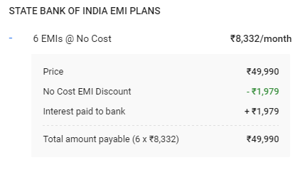 SBI Credit Card No Cost EMI