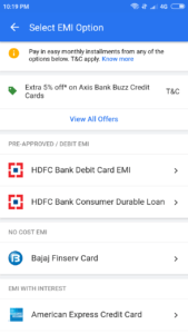 HDFC Debit Card EMI Process