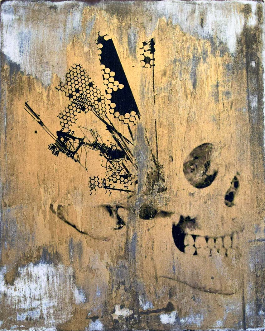 "emic, ""War Money Freedom"", gold edition print on wood"