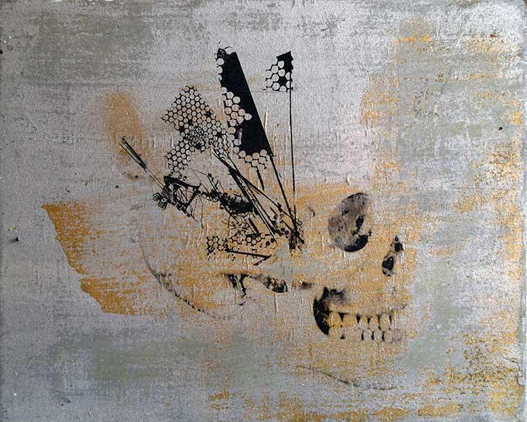 emic, %22War Money Freedom%22, print on wood