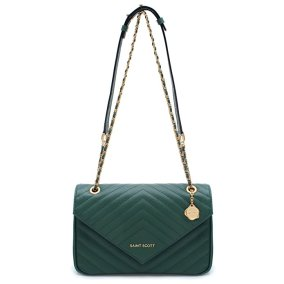 St. Scott LONDON Women's Erica Chain Shoulder Bag REMG1301 One Size Emerald Green
