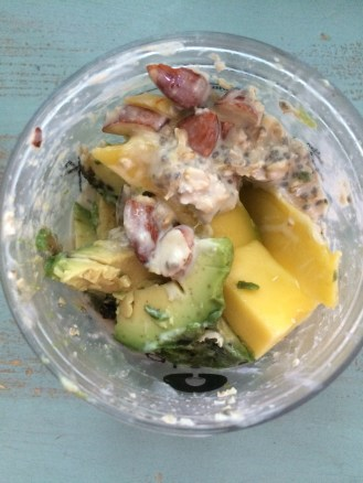 Overnight oats & chia soaked with toasted coconut almond milk, tahini, greek yogurt, hint of honey. Topped with raw almonds, mango & avocado!
