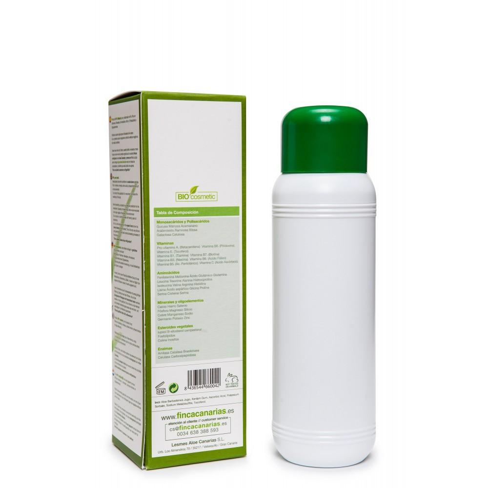 Pure Aloe Vera gel 99% uit de Canarische Eilanden fles 500 ml achterkant