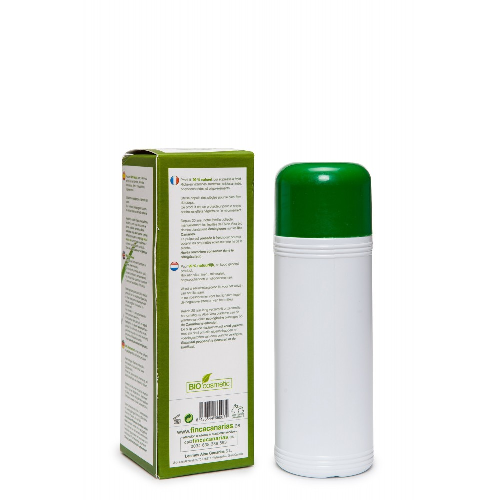 Pure Aloe Vera gel 99% uit de Canarische Eilanden fles 250 ml achterkant