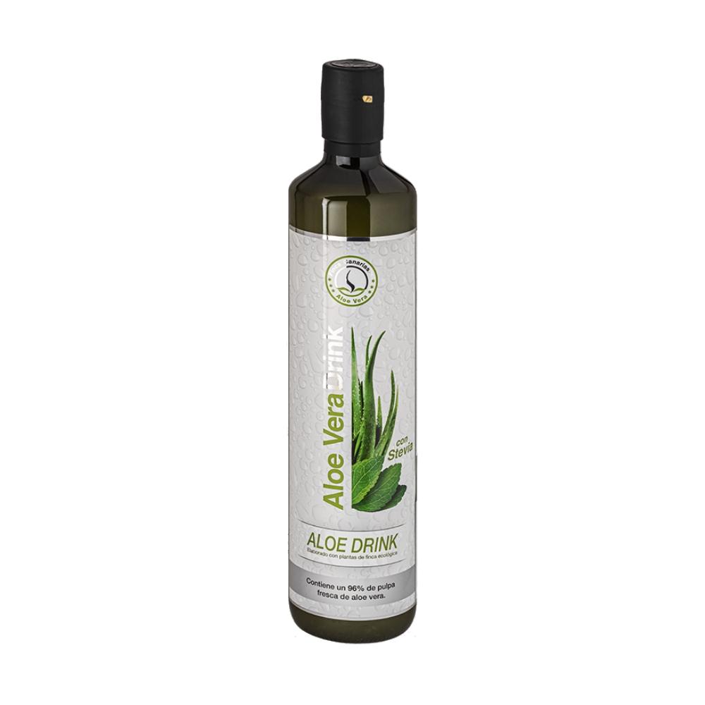 Pure Aloe Vera sap met Stevia 96 procent   Emigreren Gran CanariaPure Aloe Vera sap met honing 96 procent fles voorkant